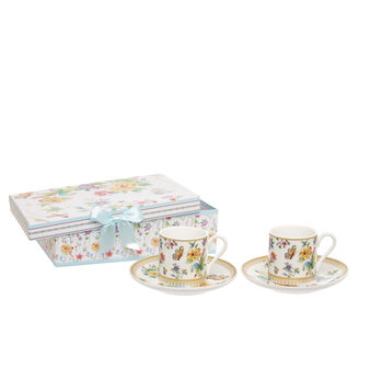 Set of 2 coffee cups in new bone China with butterfly decoration