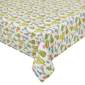 Water-repellent cotton twill tablecloth with cactus motif