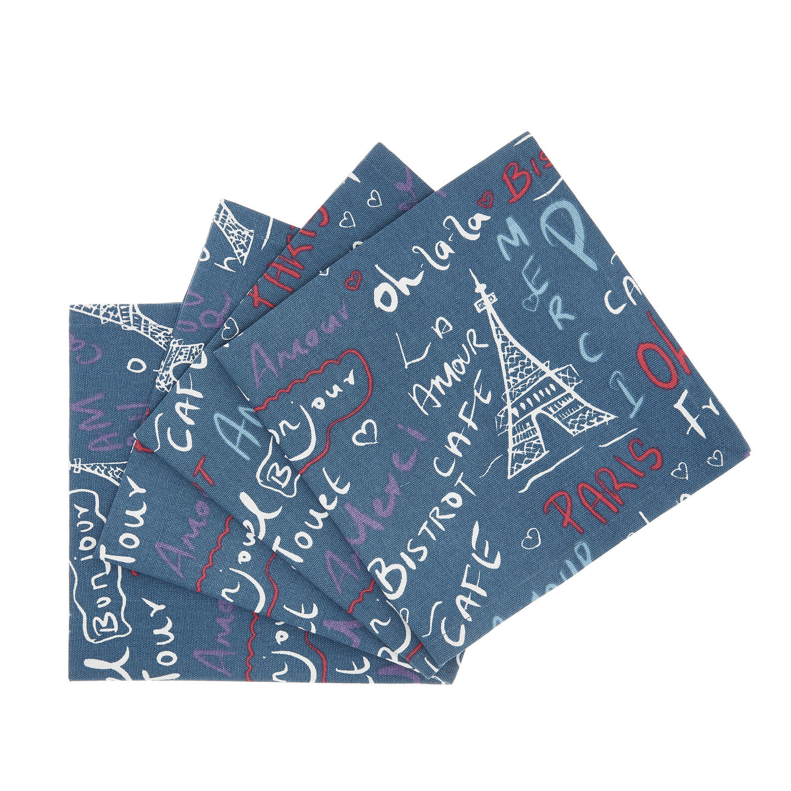 Set of 4 napkins in 100% cotton with Paris print
