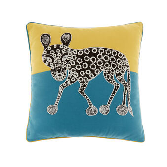 Cotton cushion with hyena embroidery 45 x 45 cm