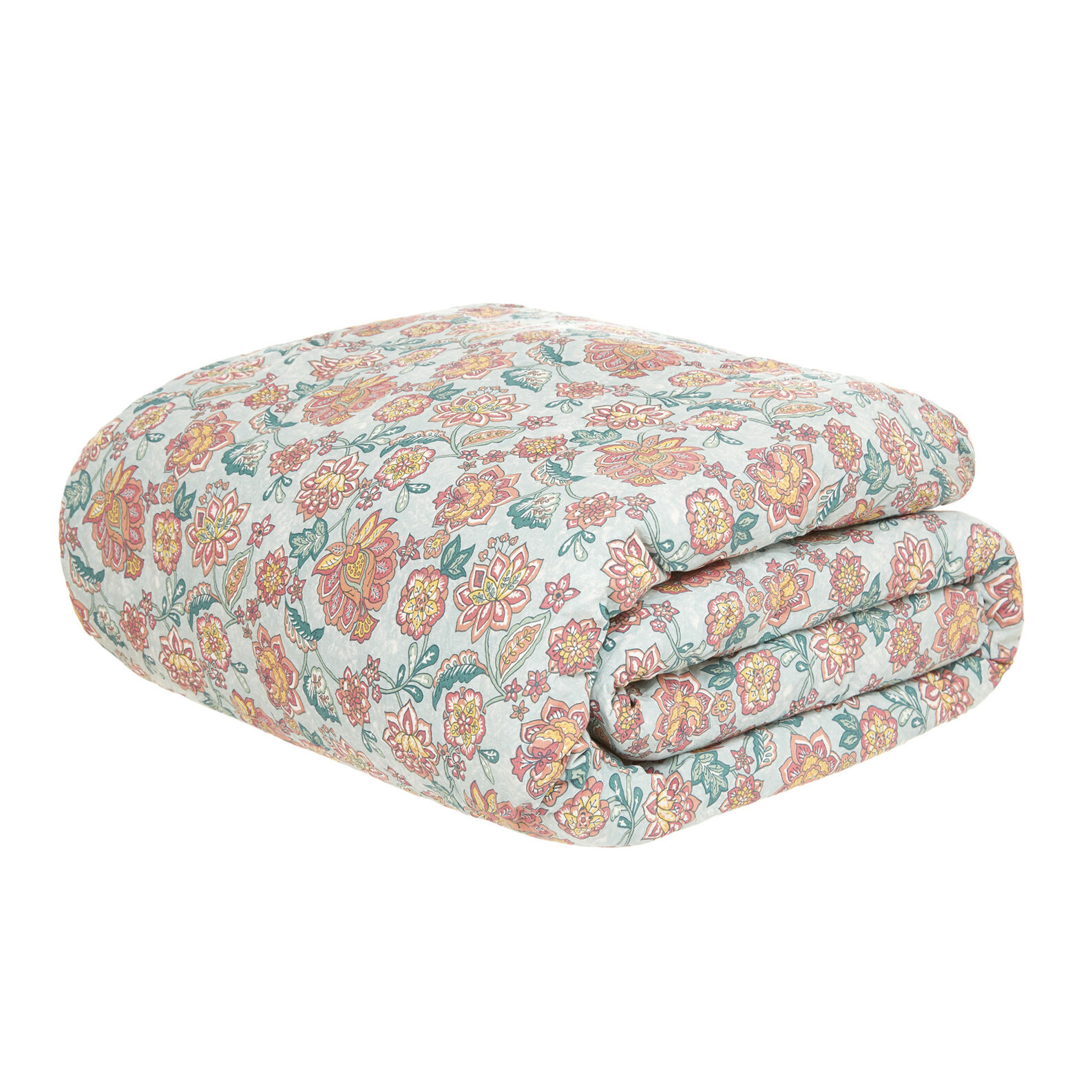 Organic cotton quilted throw with flower pattern