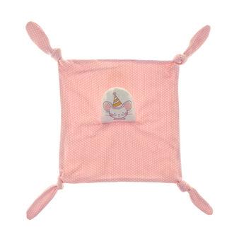 Polka dot micro-fleece toy with girl mouse head