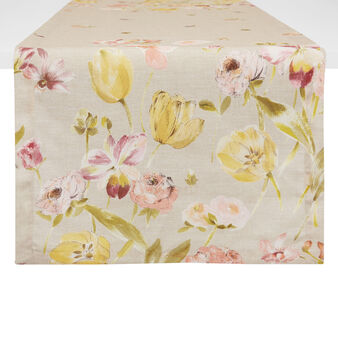 Degradé table runner with floral print