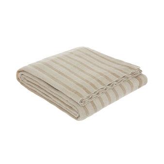 Striped pure linen bedspread
