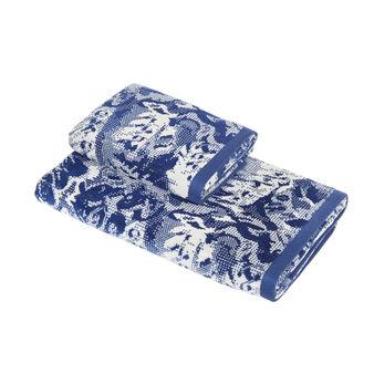 Cotton velour towel with floral motif