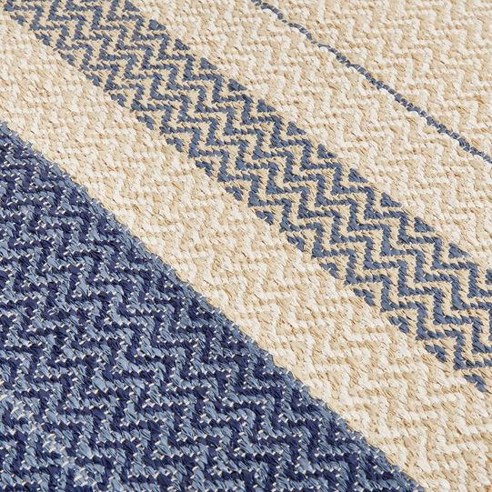PVC fibre mat with striped jacquard design
