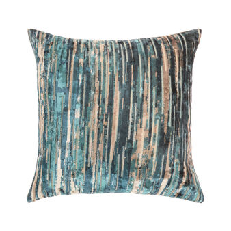 Velvet cushion with shaded stripes