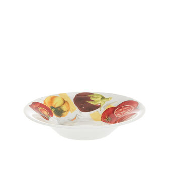 Porcelain soup bowl with vegan La Cucina Italiana decoration