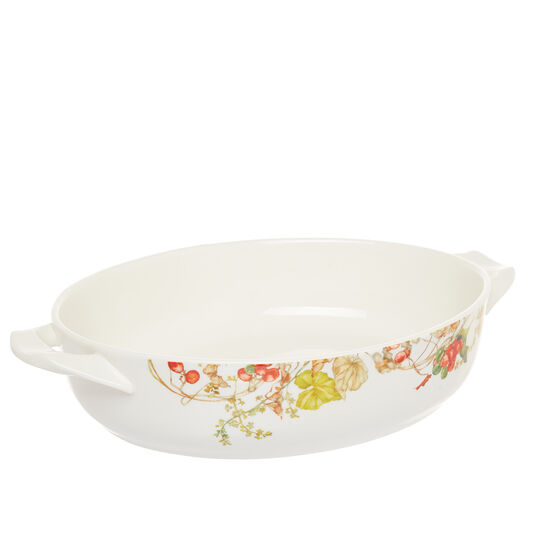 Oven dish in new bone China with flowers motif