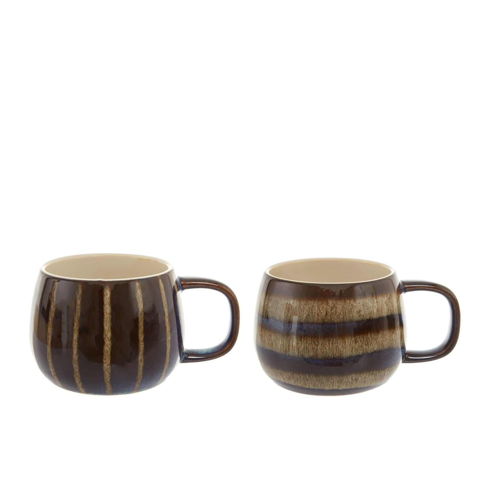 Stoneware breakfast cup with stripes