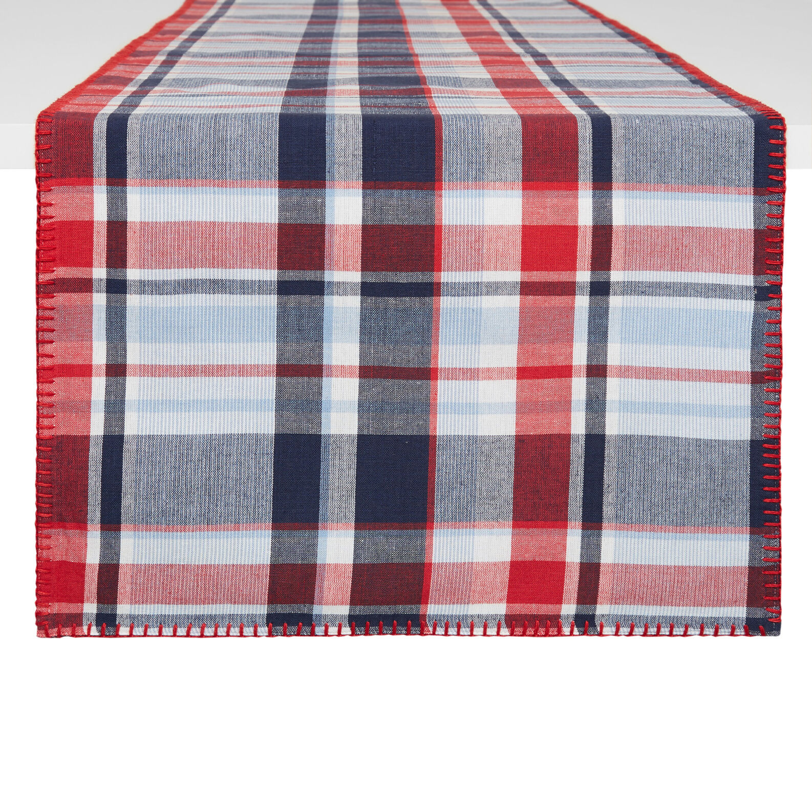 Yarn-dyed table runner in 100% cotton with check motif