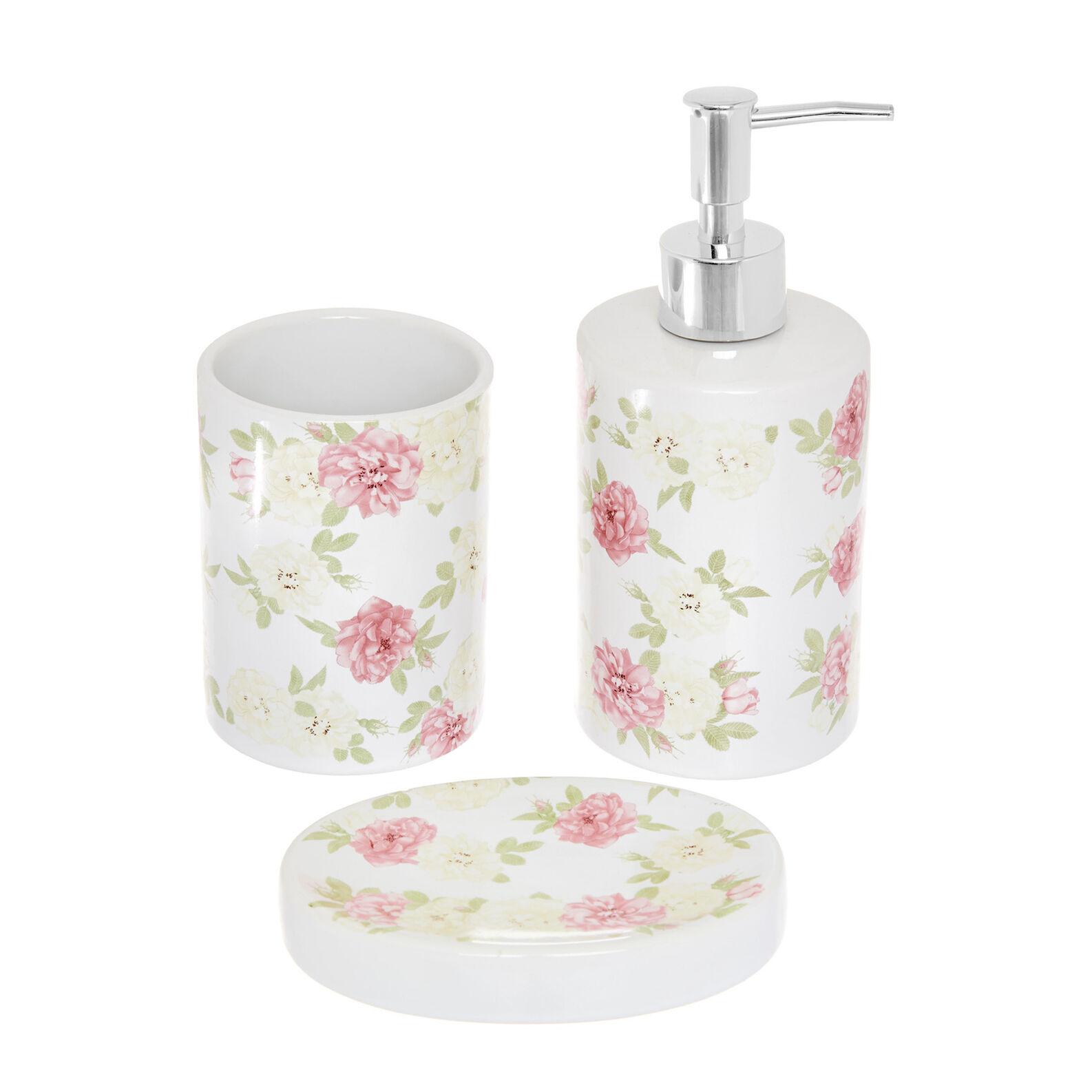 Set 3 accessori bagno in ceramica decoro rose