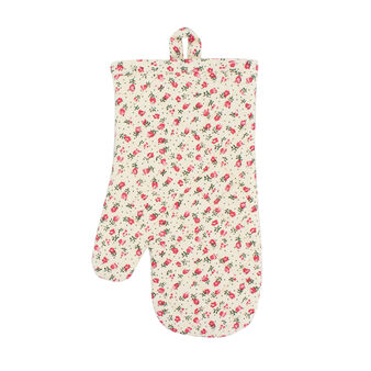 Oven mitt in 100% cotton with tiny flowers