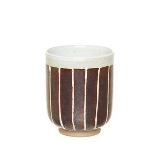 Striped porcelain tea cup