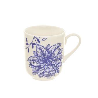 Stoneware mug with botanical decoration