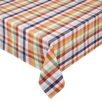 Check waterproof tablecloth in 100% cotton