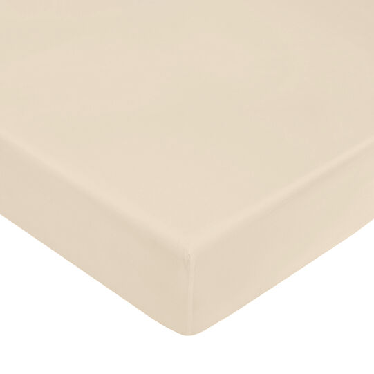 Solid colour fitted sheet in cotton percale