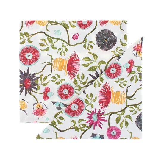 Set 2 tovaglioli puro cotone stampa fiore di cardo