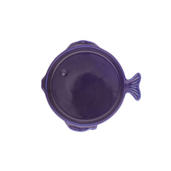 Small stoneware fish-shaped side plate