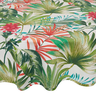 Round 100% cotton tablecloth with tropical leaf print