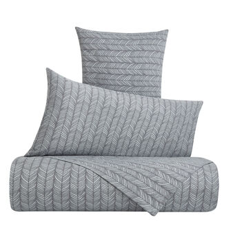 Duvet cover set in cotton percale with feather pattern