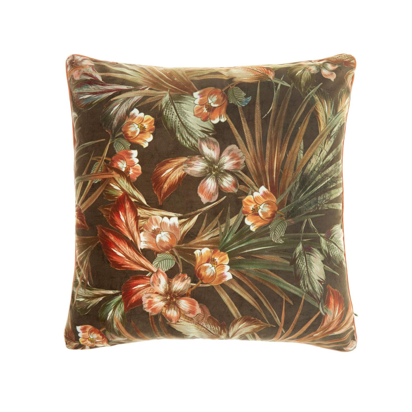 Velvet cushion with floral print (45x45cm)