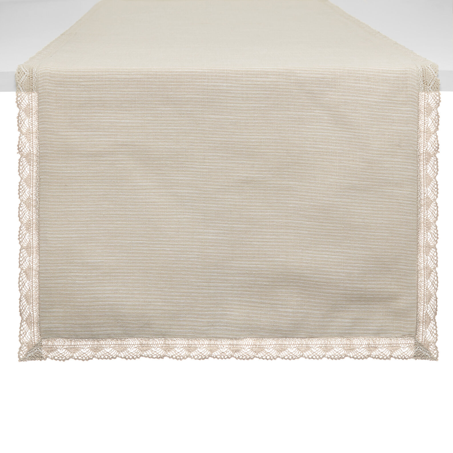 Iridescent cotton table runner with lace trim