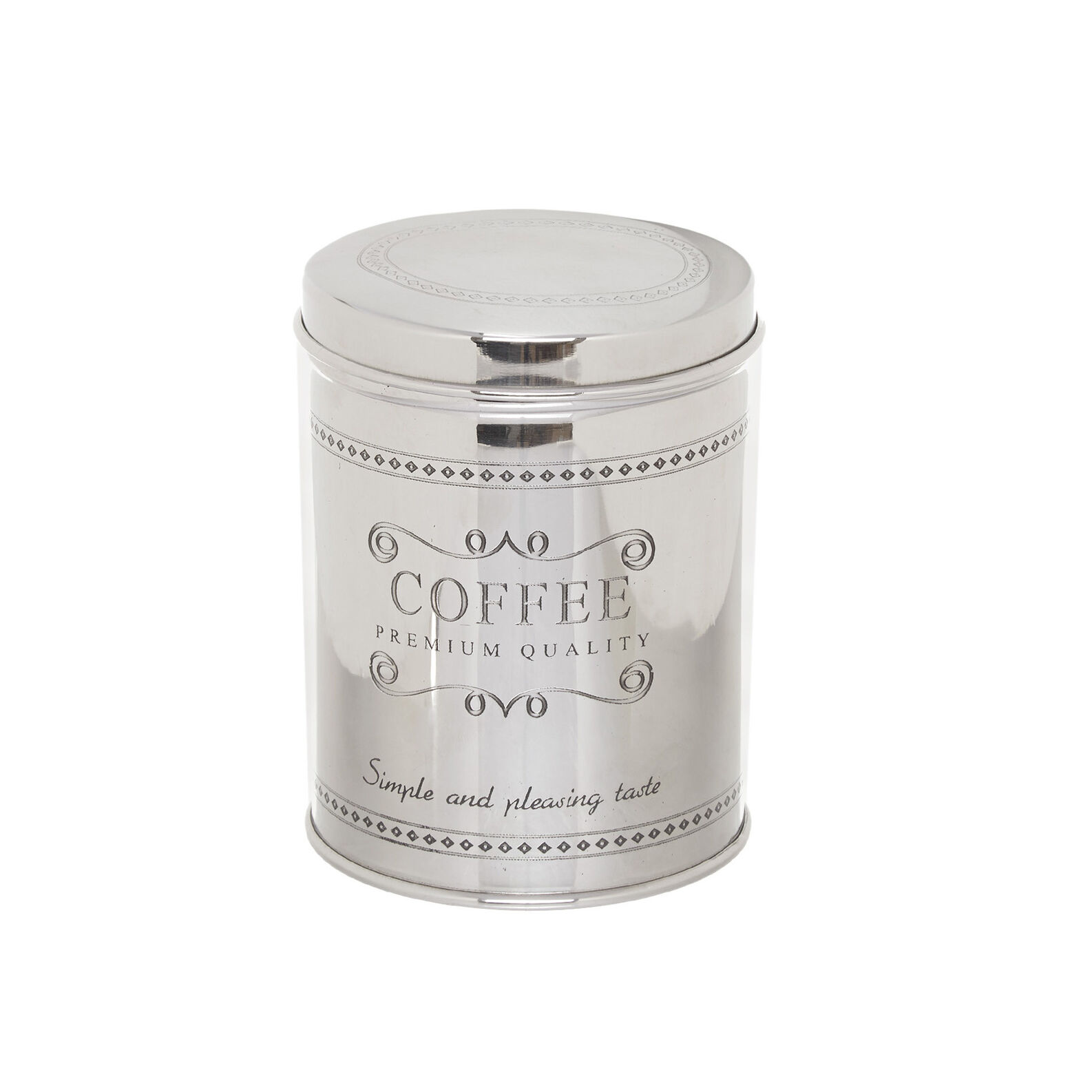 Steel coffee tin with lettering