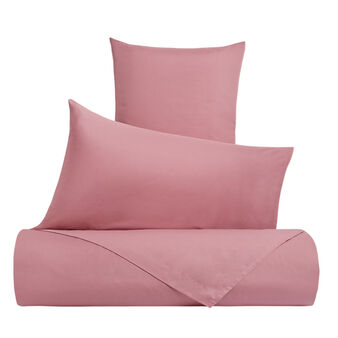 Solid colour duvet cover set in cotton percale