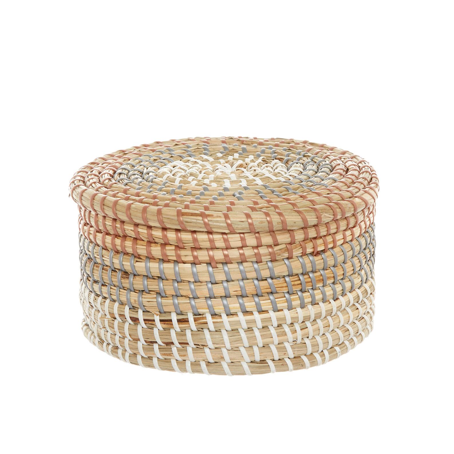 Handmade round seagrass basket