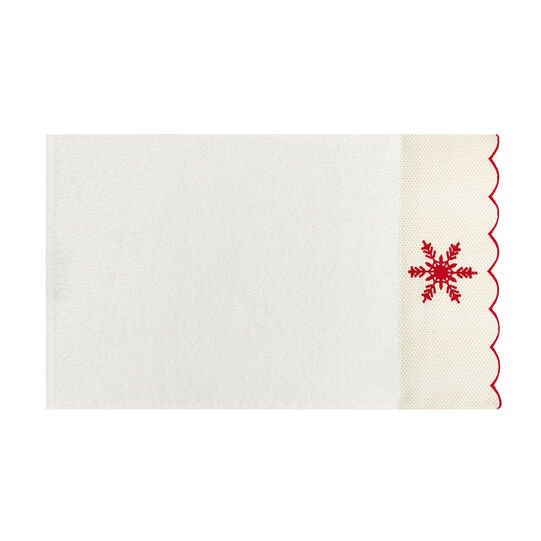 Set of 2 100% cotton towels with embroidered snowflakes