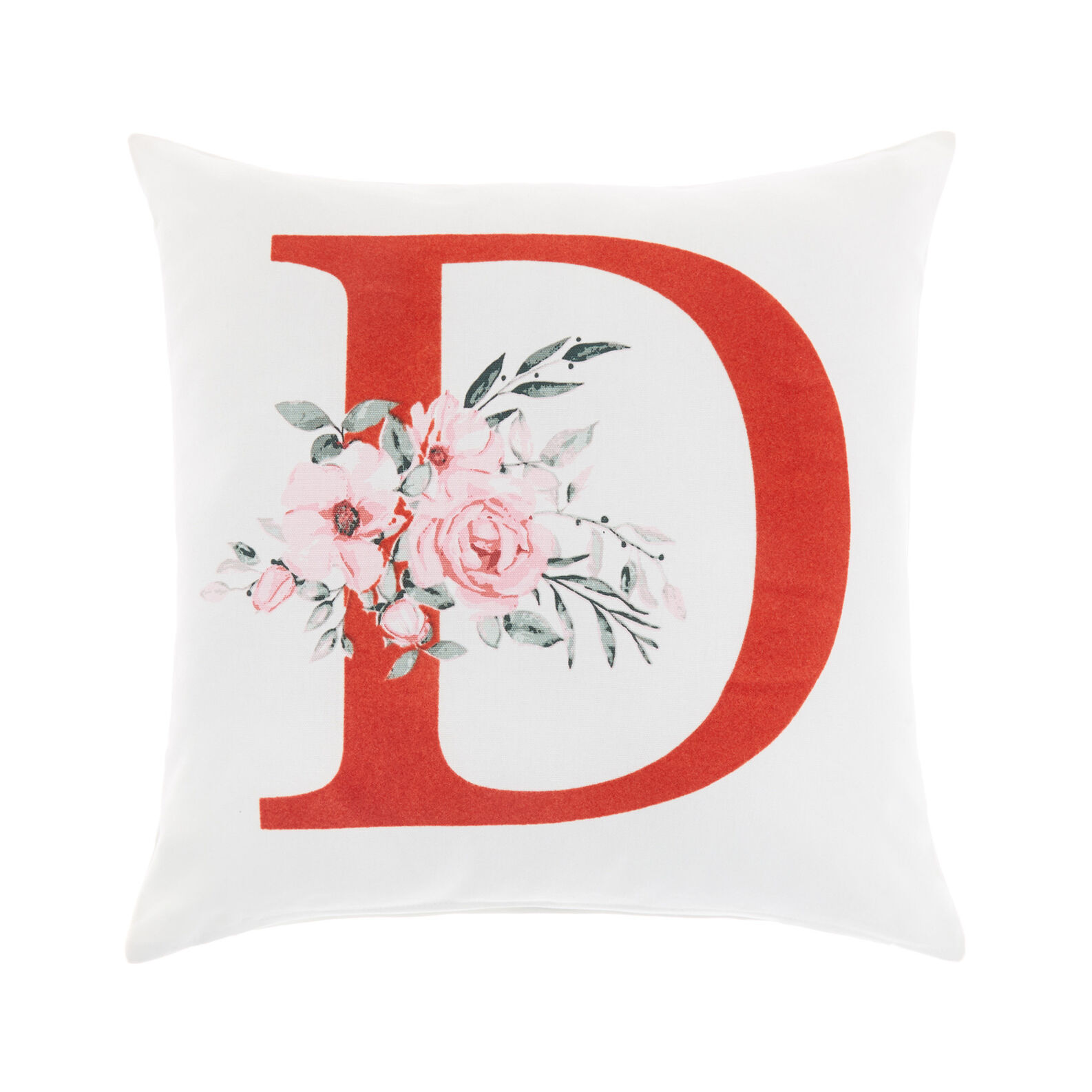 Cotton cushion cover with D print 45x45cm