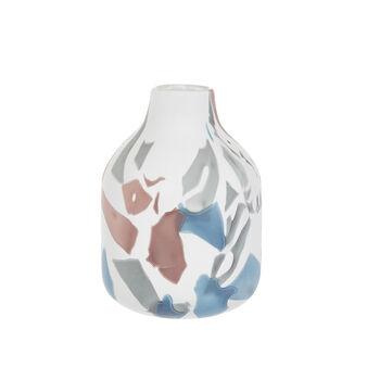 Vaso a bottiglia vetro colorato in pasta fatto a mano