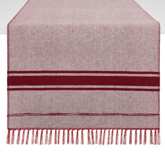 100% cotton mélange table runner with fringe