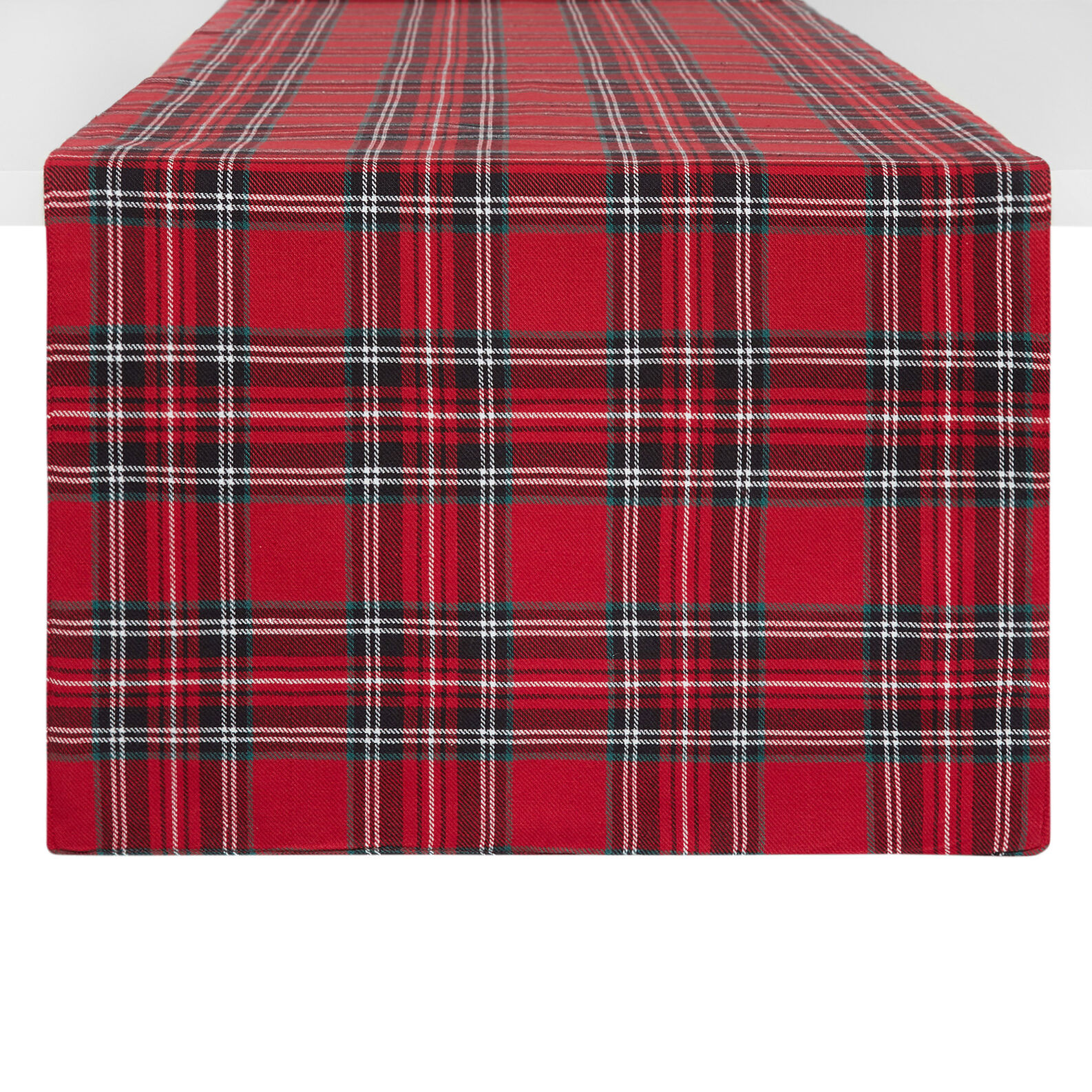Cotton twill table runner with tartan motif
