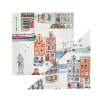 Set of 2 napkins in 100% cotton with Amsterdam print