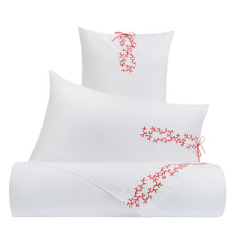 Flat sheet in cotton percale with coral embroidery