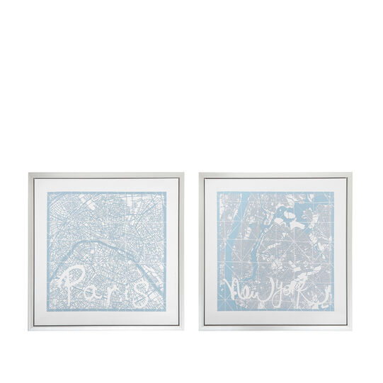 Paris and New York photographic print with frame