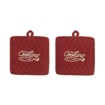 Set of 2 pot holders in 100% cotton with Cooking embroidery