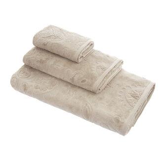 Cotton towel with damask jacquard motif