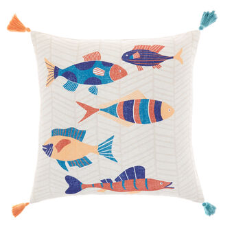 Cushion with fish print and tassels