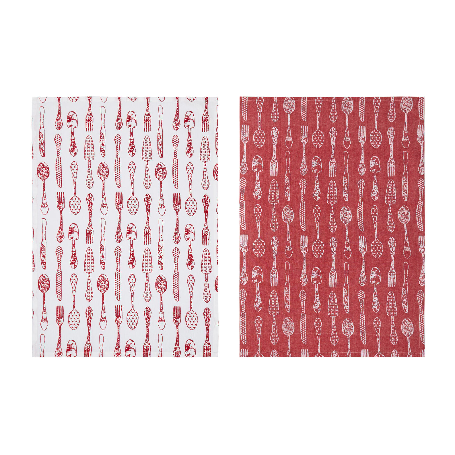 Set of 3 tea towels in 100% cotton with cutlery print