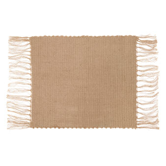 Jute table mat with fringe