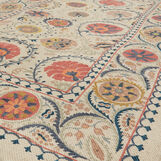 Handwoven cotton rug with wool embroidery