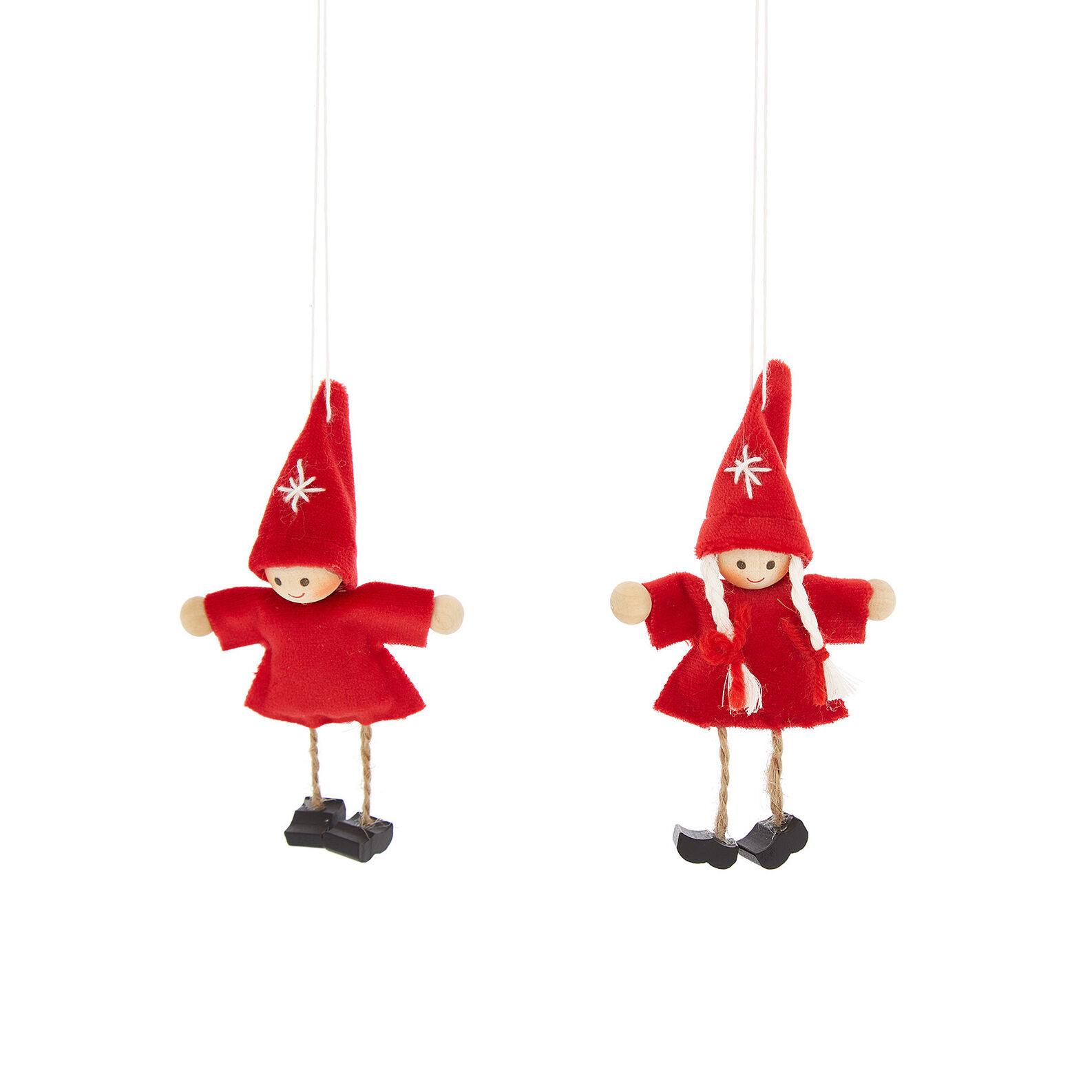 Set 2 bambini decorativi fatti a mano