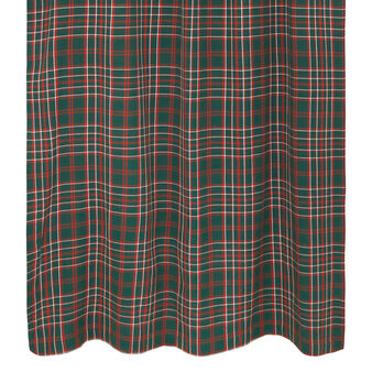 Cotton curtain with tartan motif and hidden loops