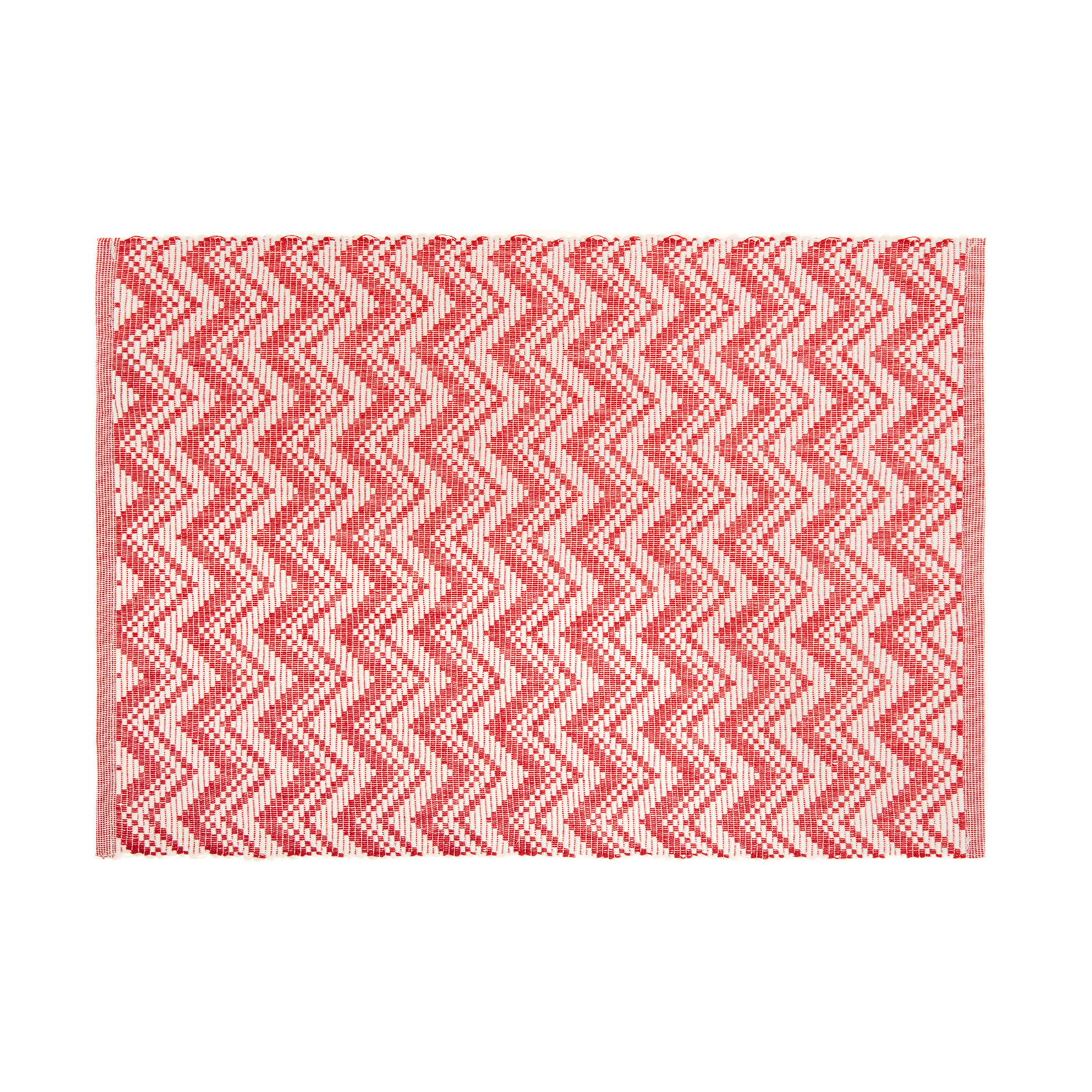 Table mat in 100% cotton with zigzag motif