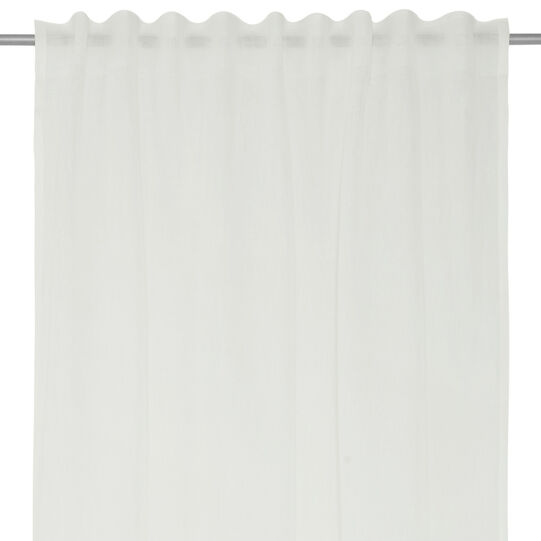 Linen blend curtain with degradé print and hidden tabs