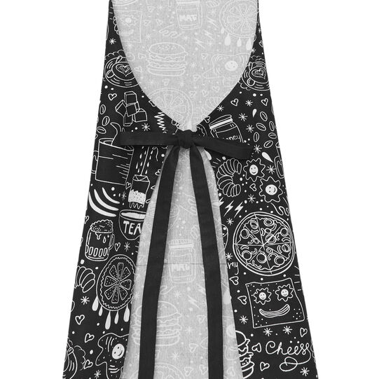 Kitchen apron in 100% cotton with food print