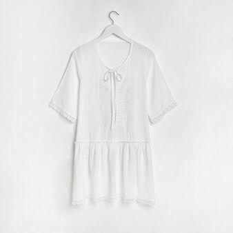 Embroidered cotton-blend mini dress